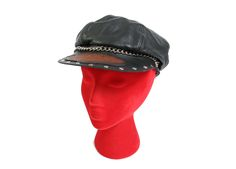 1dd3ebd0a9885 Vintage Harley Davidson Leather Hat - 70s 80s - Biker Leather Cap - Studded  and Chain - Newspaper Boy Hat - Leather Harley Davidson Cap
