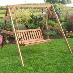 A&L Furniture Co. Traditional English Cedar Stand With Two Swing Chairs - Porch Swing With Canopy, Porch Swing Frame, Porch Swing With Stand, Wicker Swing, Swing Chairs, Bench Swing, Diy Swing, Porch Swings, Hanging Chairs