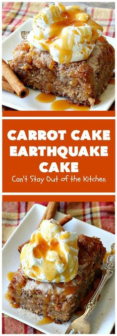 Carrot Cake Earthquake Cake | Can't Stay Out of the Kitchen | this fantastic #cake is rich, decadent & divine! It's layered with #pecans, #coconut, vanilla chips & uses a boxed #carrotcake mix. Then it has a #cheesecake icing layer that sinks into the #dessert while baking. The explosion causes an earthquake! Amazing dessert for company or #holidays. #FourthofJuly #LaborDay