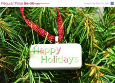 AFTER CHRISTMAS SALE Red and Green Happy Holidays Domino Christmas Ornament on Etsy, $4.00