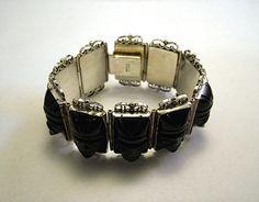 Vintage Mexican Silver Onyx Mask Bracelet   eBay