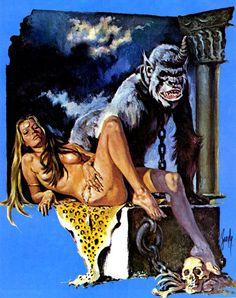 swordofsteel:  artist: Sebastia Boada High Fantasy, Sci Fi Fantasy, Scary Snakes, Sword And Sorcery, Cryptozoology, Science Fiction Art, Comic Page, Pulp Art, Vintage Comics