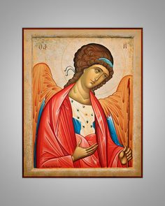 Original handpainted Angel Icon Eastern Christian by stephmelart on Etsy Christian Paintings, Christian Art, Religious Icons, Religious Art, Russian Icons, Byzantine Art, Archangel Michael, Orthodox Icons, Coloring Books