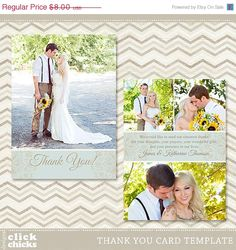 SAVE 40% Wedding Thank You Card Template - 5x7 Flat Photo Card 001 - C003, Instant Download on Etsy, $4.80