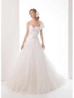 Robe de mariée eb tulle asymétrique sans manches élégant et glamour pas cher