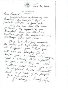 The handwritten letter George W Bush wrote to President Barack Obama