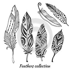 Illustration about Hand drawn stylized feathers vector collection. Set of doodle tribal feathers. Cute zentangle feather for your design. Illustration of handmade, dream, beauty - 53958625 Tribal Feather, Feather Art, Doodle Patterns, Zentangle Patterns, Pena Tribal, Henna Tattoo Muster, Dibujos Zentangle Art, Feather Drawing, Feather Vector