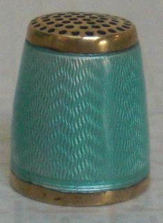 Vintage Scandinavian Sterling Silver & Enamel THIMBLE by Anton Michelsen Denmark