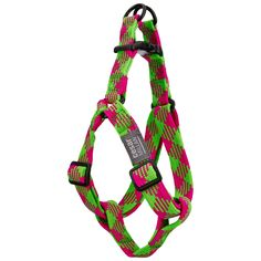Nylon Step-In Adjustable Harness. Braided Brights Dog Harness.