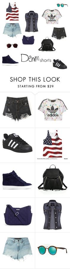 """""""denim shorts"""" by kennedy-s-raynor ❤ liked on Polyvore featuring adidas Originals, adidas, Sam Edelman, Rebecca Minkoff, Vera Bradley, maurices, T By Alexander Wang, Ray-Ban, jeanshorts and denimshorts"""