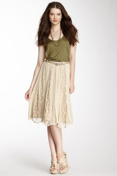 Lace Panel Skirt + Olive Green Top