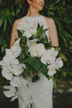 The seriously fun tropical wedding theme is a huge trend for weddings. A tropical destination wedding calls for an exceptional, jaw-dropping bouquet! Orchid Bridal Bouquets, Tropical Wedding Bouquets, Tropical Flower Arrangements, Bride Bouquets, Bridal Flowers, Bridesmaid Bouquet, Floral Wedding, Wedding Colors, Tropical Flowers