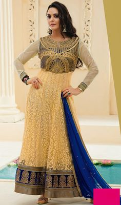 Preity Zinta Cream Embroidered Brasso Silk Long Anarkali Suit Let your adorable looks create a stunning impact like Preity Zinta as you walk out in this cream embroidered brasso silk long Anarkali suit. The attractive resham and stones work a significant element of this attire. #SilkLongAnarkaliSuit #BollywoodSalwarKameez