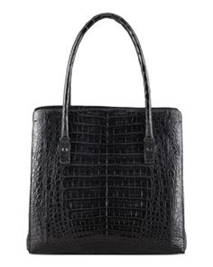 Nancy Gonzalez Crocodile Shoulder Tote Bag, Black
