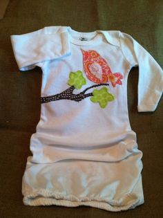 Bird on a limb applique  infant gown by craftycheetah on Etsy, $20.00