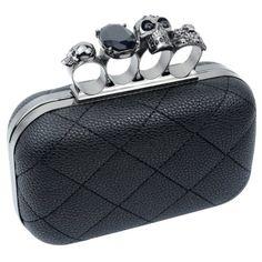 Womdee(TM) Steppen Künstlich Leder Schädel PU Portemonnaie Ring Handtasche Knöchel Stil Party Tasche-Schwarz Mit Womdee Accessorie