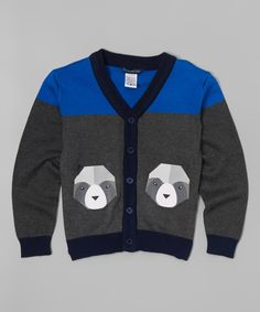 Look at this Sophie & Sam Charcoal & Blue Raccoon Cardigan - Toddler & Boys on today! Baby Robin, Tween Fashion, Little Man, Jacket Style, Cute Tops, Baby Boy Outfits, Toddler Boys, Charcoal, Sweaters