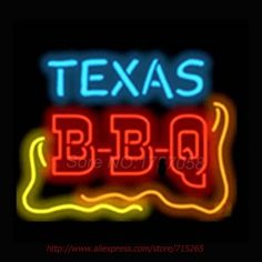 99.96$  Watch now - http://alivr9.worldwells.pw/go.php?t=32611968660 - Texas BBQ Catering NEON SIGNs Handcrafted Wall Sign Recreation Room Neon Bulbs Real Glass Tube Beer Signs Lighted Avize VD 17x14