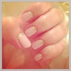 Reverse manicure with pink and gold