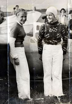 First to fly a helicopter, rocket plane, and a jet fighter-->German aviator Hanna Reitsch (left) set over forty aviation altitude and endurance records during her career in the 1930s and 40s - and was the first woman to fly a helicopter, a rocket plane, and a jet fighter.