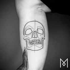 #mo ganji #singleline skull tattoo