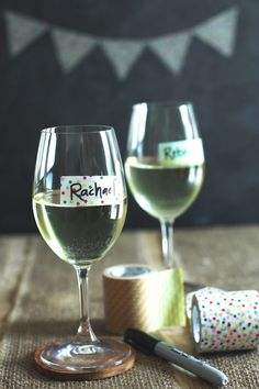 I wouldn't do this on wine glasses, but it would be good for other party drinks.