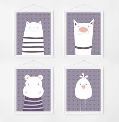 Poster print wall art set with cute animal illustrations. Kids & nursery art deco. Set of 4 prints for instant download. by PenguinGraphics on Etsy