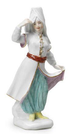 A Meissen figure of a Turkish woman, circa 1745-50