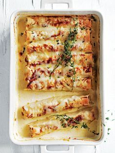 creamy chicken, silverbeet and ricotta cannelloni