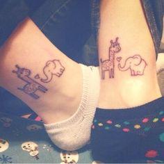 Friendship tattoo animal elephants giraffe