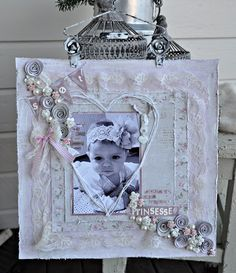 shabby chic, baby girl, scrapbook pages, layout