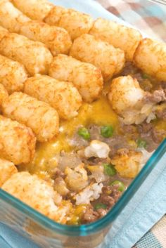 Tater Tot Casserole with Cheddar Cheese