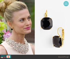 Paige's black earrings on Royal Pains.  Outfit Details: http://wornontv.net/50027/ #RoyalPains