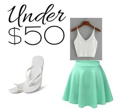 """Under $50 Outfit Contest Entry"" by sa-sarah on Polyvore featuring LE3NO, Hotmarzz, under50 and skirtunder50"
