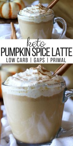 "Easy Keto Pumpkin Spice Latte (Low Carb, Paleo, GAPS) - Rich in flavor and healthy fats, this Easy Keto Pumpkin Spice Latte will become a regular daily treat. This drink can be made with herbal ""coffee"", and coconut cream to keep it paleo. Homemade Pumpkin Spice Latte, Pumpkin Spiced Latte Recipe, Pumpkin Spice Coffee, Spiced Coffee, Pumpkin Recipes, Pumpkin Drinks, Low Carb Drinks, Low Carb Dessert, Keto Coffee Recipe"