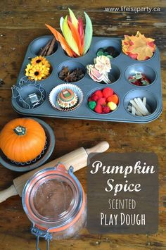 Pumpkin Spice Play Dough: Great recipe for pumpkin pie scented play dough. Lots of ideas for a fun fall sensory centre for children. Easy and hours and hours of fun. Party Activities, Holiday Activities, Activities For Kids, Pumpkin Pie Recipes, Party Entertainment, Diy Party Decorations, Great Recipes, Fall Recipes, Play Dough