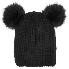 Eugenia Kim Mimi faux fur-trimmed wool beanie (975 RON) ❤ liked on Polyvore featuring accessories, hats, beanie, black, eugenia kim, chunky knit beanie, eugenia kim hat, wool beanie and black pom pom beanie