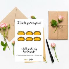 Funny Bridesmaid Card Proposal Will You Be My Maid
