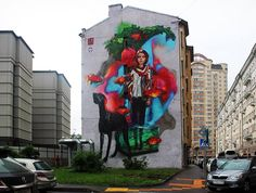 """A large mural by Morik and Aber - """"Give me a wall and one spray paint can and I will move the world"""" - Elcodigodebarras"""