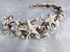 seashell hair piece seashell headband starfish by thehoneycomb