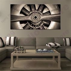 Large Wall Art Canvas Print Garage Artwork Retro Propeller Aircraft Engine Engineering Closeup Poster for Office Wall Decor Gift Dining Room Office, Office Wall Decor, Office Walls, Home Decor Wall Art, Art Decor, Large Canvas Wall Art, Canvas Art Prints, Graffiti Canvas Art, Aircraft Engine