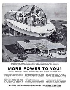 Unknown : Woman Driving Flying Saucer, illustration depicting an american mother and daughter arriving home from shopping in a futuristic spaceship, Vintage Advertisements, Vintage Ads, 1950s Advertising, Weird Vintage, Vintage Romance, Retro Ads, Vintage Glam, Ufo, Mothers Day Ad