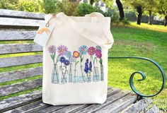 Flowers Fair Trade Tote Bag Reusable Shopper Bag Cotton Tote Shopping Bag Eco Tote Bag by ceridwenDESIGN http://ift.tt/23uyRF7