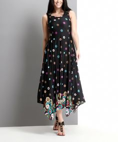 Look what I found on #zulily! Black Daisy Handkerchief Maxi Dress - Plus by Reborn Collection #zulilyfinds