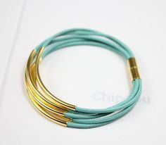 Turquoise leather bracelet gold tubes and gold magnetic by Chipo4u, $9.90