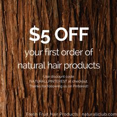 We're offering all our Pinterest followers $5 off your first order of fresh fruit hair products. Use code NATURALLPINTEREST to receive your $5 discount. Your hair is beautiful! Treat it with love using natural ingredients. Natural deep conditioners are part of a healthy hair regimen- they moisturize, restore, and revive hair.