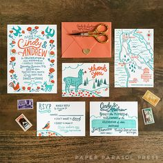 Cindy & Andrew's wedding invitation suite by Cindy from Paper Parasol Press, handlettering by Amanda Raymundo