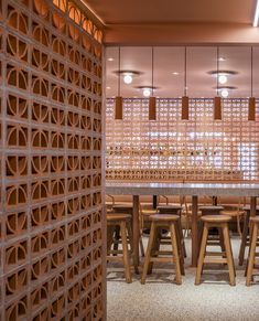 Love the combination of our terracotta pendants with the raw open brick screening in Domu restaurant, Orlando, designed by GDP Design Build (pic by Chad Baumer) Brick Interior, Interior And Exterior, Interior Design, Condo Design, Architecture Design, Contemporary Architecture, Breeze Block Wall, Deco Paris, Color Terracota