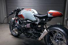 "BMW Cafe Racer R nineT ""Bridgestone"" by Diamond Atelier Cafe Bike, Cafe Racer Bikes, Cafe Racer Motorcycle, Cafe Racers, Motorcycle Art, Bmw Scrambler, Scrambler Custom, Bobber, Nine T"