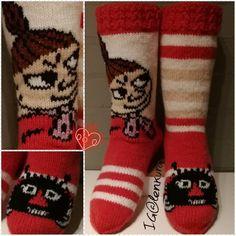 Love these little My Moomin socks Little My Moomin, Cool Socks, Knitting Socks, Handicraft, Knitting Patterns, Knit Crochet, Diy And Crafts, Crafty, Handmade